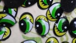 Глаза 6,5х9,5 мм Зеленые 25 пар