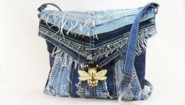 Сумка через плечо Джинсовая женская сумка для планшета Бохо джинсовая