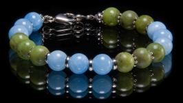 Браслет из голубого кварца и зеленого нефрита, унисекс