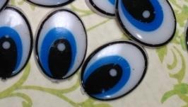 Глаза плоские голубые маленькие 50 пар