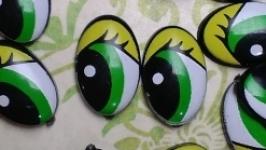 Глаза 12х8 мм Зеленые средний размер 20 пар