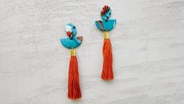 Массивные круглые серьги-кисти из глины голубые, оранжевые