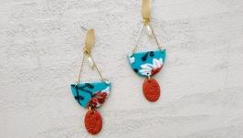 Большие геометричные серьги, яркие летние с цветами и жемчугом