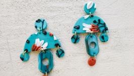 Голубые серьги в стиле бохо  крупные геометрические серьги с цветами