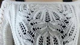 белый пуловер ′ Каскад узоров′