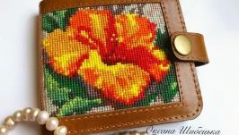Женский кошелёк,жіночий коричневий гаманець,рудий гаманець