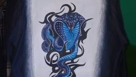 Куртка джинсовка с рисунком росписью