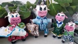 Ватная елочная новогодняя игрушка Дружная семейка