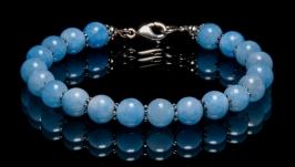 Браслет из бусин голубого кварца с серебром, браслет для девушки