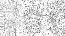 Antistress coloring pictures ′Masks′