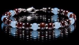 Браслет из граната и голубого кварца с серебром