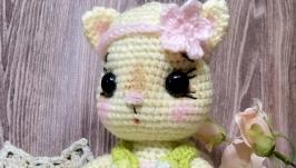 Мягкая игрушка ручной работы вязаная кошка кошечка котик кот киця