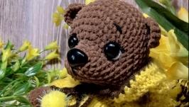 Мягкая игрушка ручной работы вязаный мишка медвежонок медведь ведмедик
