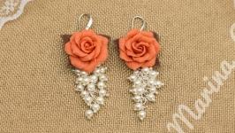 Серьги Карамельные розы