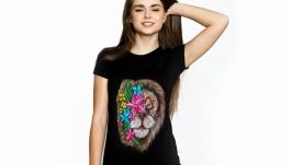 Женская футболка с росписью ′Lion Flowers′