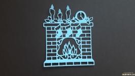 Вырубка для скрапбукинга Новогодний камин, декор для скрапбукинга