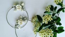 Свадебные серьги кольца с розами