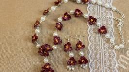 Комплект украшений Рубиновые цветы
