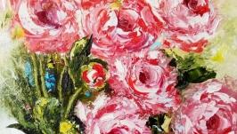 Картина полуабстракция ′Розы в прозрачной вазе′ масло холст
