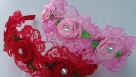 Ободок для волос Роза в гипюре Венок из цветов на голову