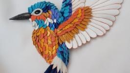 Брошь 3Д из кожи ′ Птичка′