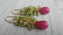 Серьги с позолотой ′Авантюрин зеленый и хризолит′
