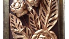 Картина из натуральной кожи бронзовые розы