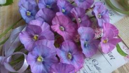 Фиалки. Цветы из полимерной глины.