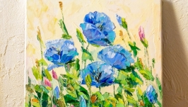 Картина маслом ′Голубые маки′