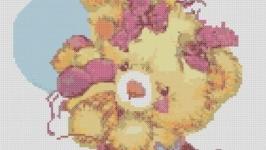Схема для вышивки картины - Мишка с шарами