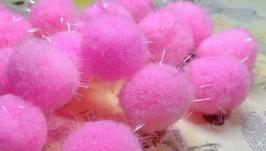 Textile Beads Pink 10 pcs.