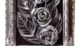 Картина из натуральной кожи серебряные розы