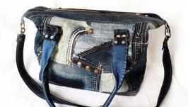 Большая джинсовая сумка ′пэтчворк′