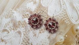 Серьги, серёжки, сережки, кульчики баклажановые из бисера ручной работы
