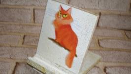Подставка под телефон Наглый рыжий кот