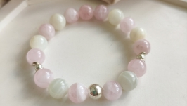 Браслет з рожевого кварцу та молочного місячного каменю