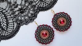 Серьги, серёжки, сережки, кульчики чёрно-красные ручной работы