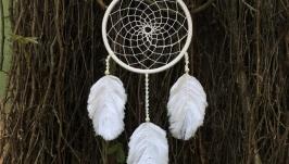 Белый ловец снов,ловец снов, ловец снов макраме, декор макраме