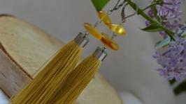 Серьги-кисти золотистые с натуральным янтарем ′Слезы богов′