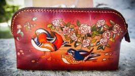 Кожаная косметичка утки мандаринки