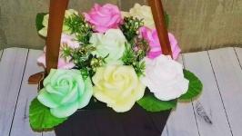 Корзинка из мыльных роз
