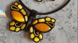 Комплект из кожи и камня ′Солнечная бабочка′