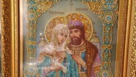 Икона вышитая бисером, жемчужинками, стразами Swarovski Св Петр и Феврония.