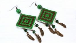 Зеленые серьги бохо с перьями Летние серьги Лесная дриада