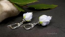 Серебряные серьги Майская Роза