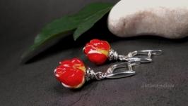 Серебряные серьги Майская Роза 2