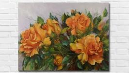 Картина маслом ′Жёлтые розы′ 30х40 см, холст на подрамнике, масло