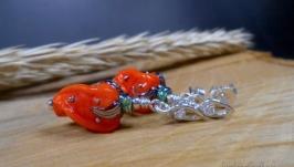 Серебряные серьги-пусеты с цветами