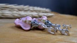 Серебряные серьги-пусеты с цветами 2