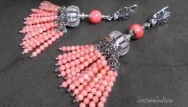 Серебряные серьги с розовым кораллом Слушая Море...